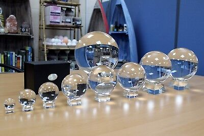 Clear Crystal Ball On Stand, Sphere, Optical Glass, Healing 30mm-130mm UK New  • 13.99£