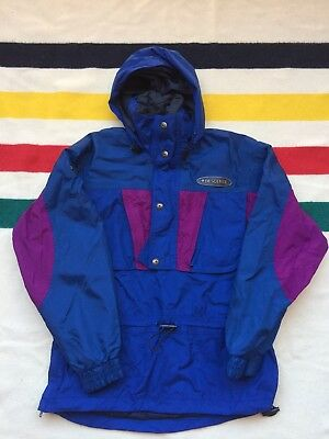 $33 • Buy Vtg 80s 90s Descente Mens M/L Ski Jacket 1/2 Zip Nylon Blue Purple Hooded