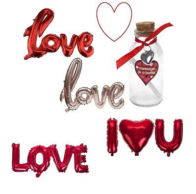 Valentines Gifts Romantic Bear Balloons Message In A Bottle Love • 2.98£