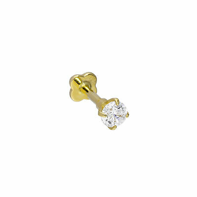 AU48.13 • Buy Real 375 9ct Gold & Clear CZ Crystal 17Ga Labret Body Jewellery Piercing Nose