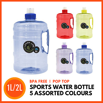 AU12.79 • Buy BPA FREE 1L / 2L Sports Water Bottle Gym Training Bike Running Drinking Bottles