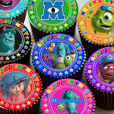 Monsters Inc Mixed Colourful Happy Birthday Edible Cupcake Topper Decoration • 4.59£