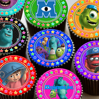 Monsters Inc Mixed Colourful Star Border Edible Cupcake Topper Decoration • 2.39£