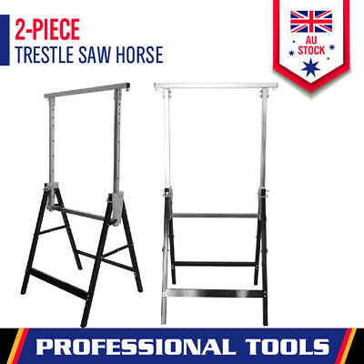 AU94.04 • Buy 2x Telescopic Saw Horse Metal Folding Trestle Work Bench Stand Adjustable Height