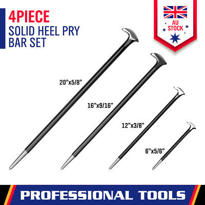 AU25.64 • Buy New 4Pc Solid Pry Bar Set Steel Prying Kit Rolled Heel Prying Pinch Lever Bars