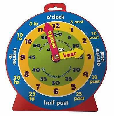 £2.25 • Buy Children's Teaching Clock Learning To Tell Time Educational Magnetic Back Colour