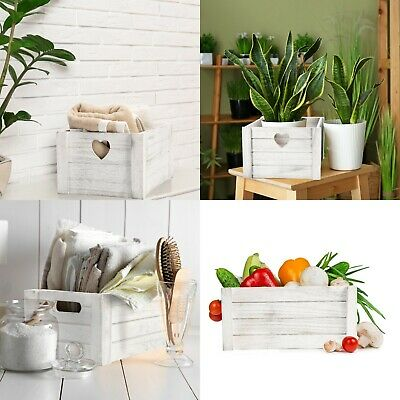 White Grey Wooden Crates Retail Display Shelve Storage Box Gift Hamper • 10.99£
