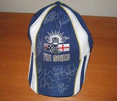 England 2011 Test Match Winning Team Signed Official Ashes Cap (Blue) + COA • 332.61£