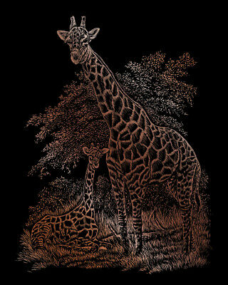 £2.85 • Buy Engraving SCRAPERFOIL Scratch Art Kit COPPER FOIL Engrave GIRAFFE AND BABY