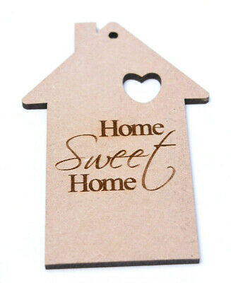 £4.25 • Buy Wooden House Craft Shapes Home Sweet Home Tags Engraved Craft Blank Keyrings X 5
