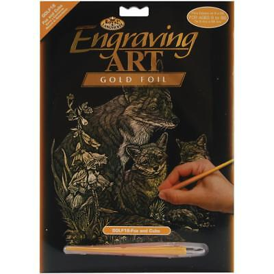 £2.85 • Buy Engraving SCRAPERFOIL Scratch Art Kit GOLD FOIL Engrave FOX AND CUBS