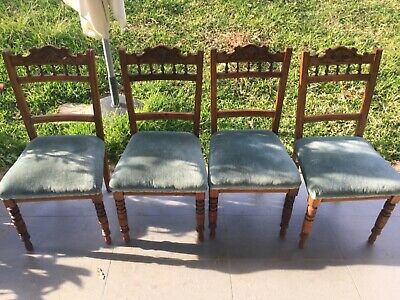 AU320 • Buy Set *4* Victorian Dining Chairs From Uk *lovely Carved Design *blue Velvet Seats