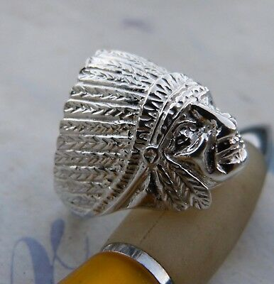 £35.20 • Buy Ring With Head Of Indian 925 Ring Sterling Silver