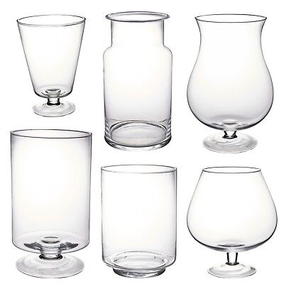 Large Transparent Glass Vase Footed Centerpiece Decorative Tall Flower Table • 10.99£