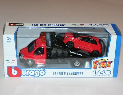 Burago - FLATBED TRANSPORT + FIAT 500 (Red) - 'Street Fire' Model Scale 1:43 • 22.99£