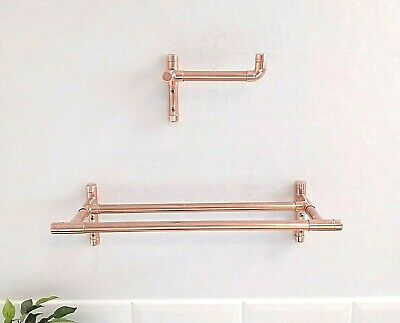 Copper Toilet Roll Holder & Double T-bar Towel Rail - Handmade With Real Copper • 9.75£