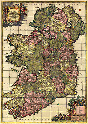 AU53.99 • Buy Detailed Map Of Ireland Old Vintage  Framed Canvas Art Print Painting