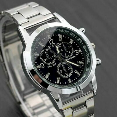 Men's Leather/Steel Formal Casual Analog Quartz Wrist Watch Suite Watches • 3.99£