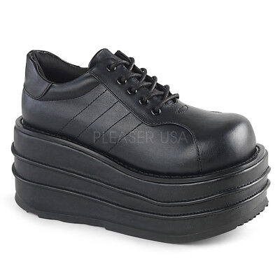 e23c5c92e2f Demonia TEMPO-08 Men s Black Vegan Leather Wedge Platform Lace-Up Oxford  Shoes •