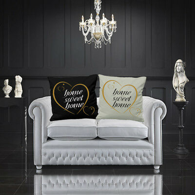 Home Sweet Home Cushion Cover Gold Heart Love Your Home Decor 16  Or 18  Square • 10.50£