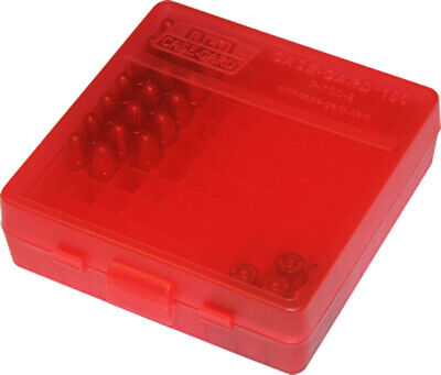 AU9.80 • Buy MTM Pistol Ammo Box 100 Round Flip-Top 9mm 380 ACP - Clear Red P-100-9-29