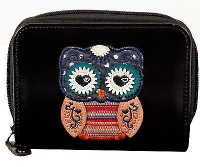 All New Medium Owl Motif Round Zip Purse With Front Wallet Section With Gift Box • 9£