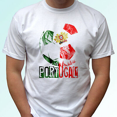 Portugal Football Flag White T Shirt Design Camiseta World Cup Top Tee All Sizes • 9.99£