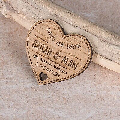 AU23.31 • Buy Personalised Engraved Rustic Wooden Heart Save The Date Fridge Magnets Invites