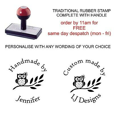 £8.95 • Buy Personalised Handmade By Rubber Stamp Customised With Your Name And Owl Design