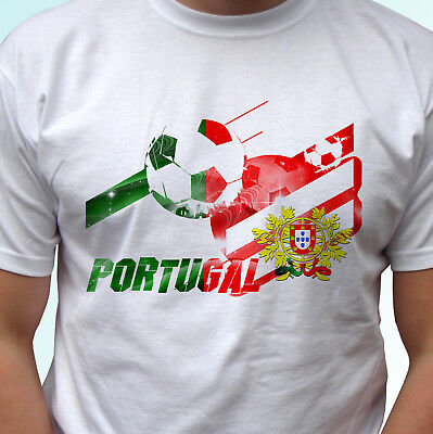 Portugal Football Flag White T Shirt Camiseta Soccer Tag World Cup Top All Sizes • 9.99£