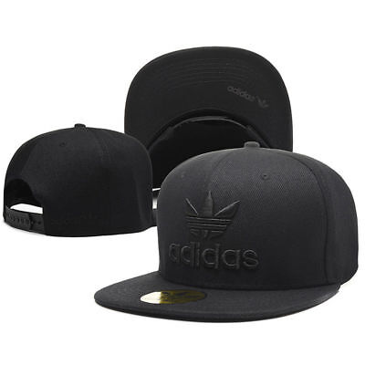 AU36.95 • Buy Embroidered Adidas Trefoil Snapback Flat Cap Black : One Size Fits Most