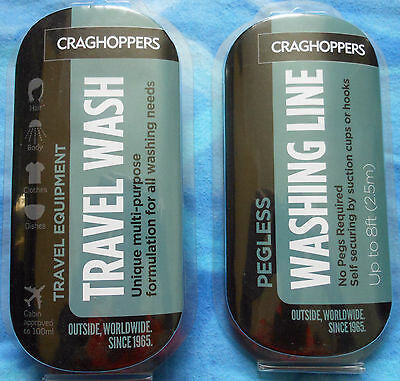 Craghoppers Travel Wash & No Pegs Washing Line • 4.99£
