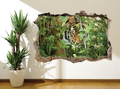 Wall Sticker Tiger Looking Through Trees In The Jungle Wall Mural (21908284) • 13.19£