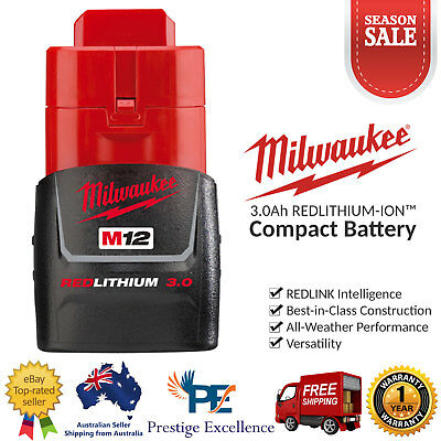 AU114 • Buy Milwaukee M12B3 12V 3.0Ah Cordless Red Lithium-ion Battery M12 Compact Batteries