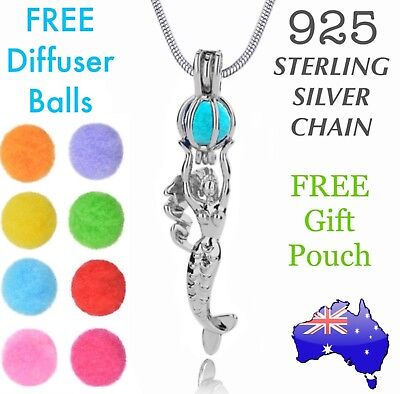 AU9.90 • Buy Mermaid Aromatherapy Essential Oil Diffuser Locket Pendant 925 Sterling Necklace