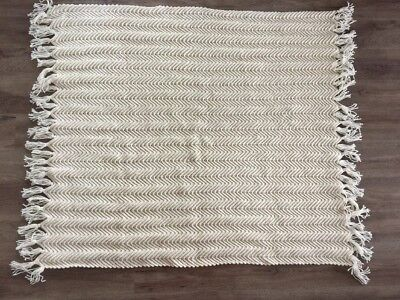 £55.37 • Buy Wool Cable Knit Ivory Cream Throw Blanket 45  X 52  With Fringes
