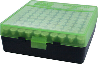 AU9.80 • Buy MTM Pistol Ammo Box 100 Round Flip-Top 9mm 380 ACP Clear Green/Black P-100-9-16T