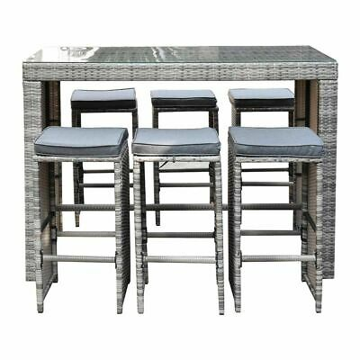 AU655 • Buy 7PC Outdoor Furniture Rattan Bar Set Dining Chair And Table Stool Patio Deck