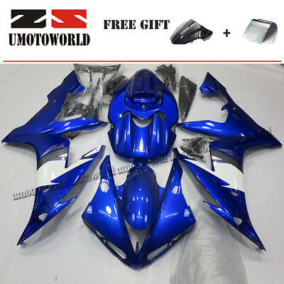 $474.05 • Buy Blue & White Fairing Kit For Yamaha YZF R1 2004-2006 (Half Tank Cover+Seat Cowl)