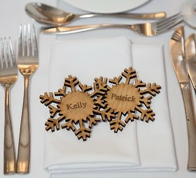 9cm Wooden Wedding Place Name, Place Setting, Favours, Magnet, Snowflakes • 1.99£