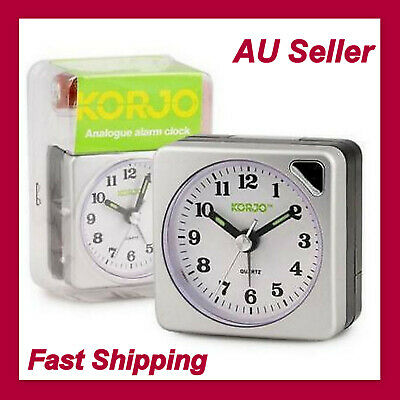AU29.13 • Buy KORJO Analogue Travel Alarm Clock With Night Light Small Square Battery AAC73