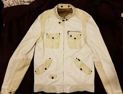 Ringspun Mens White Jacket Partial Leather • 45£