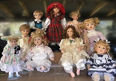 $ CDN94.67 • Buy Mix Doll Porcelain Lot 9 Total Marian Yu Boy Girl Various Sizes Stand Tag Nice