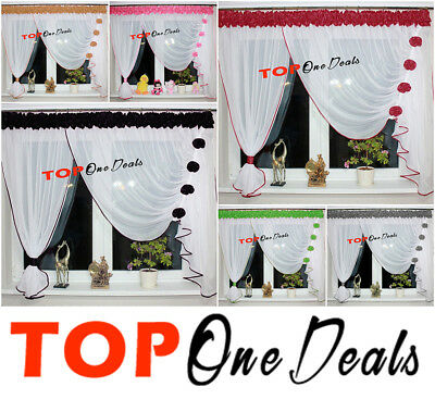 Amazing Voile Net Curtains With Flowers Ready Made Left Or Right Sides Voile New • 19.99£