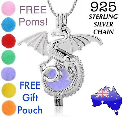 AU9.90 • Buy Dragon Aromatherapy Essential Oil Diffuser Locket 925 Sterling Chain Necklace