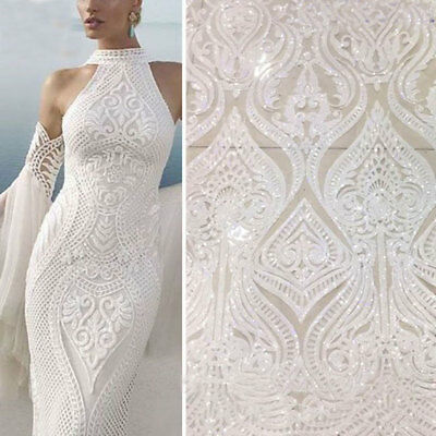 £20.99 • Buy Embroidery Bridal Evening Dress Lace Fabric Floral Sequin Bling Costume Tulle 1Y