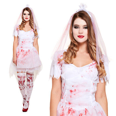 Ladies White Bloody Bride Fancy Dress Costume - Womens Halloween Zombie Outfit • 17.35£