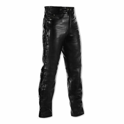 £66.74 • Buy Mens Motorcycle Motorbike Biker Leather Trousers Jeans Laces Cruiser Sonicmoto
