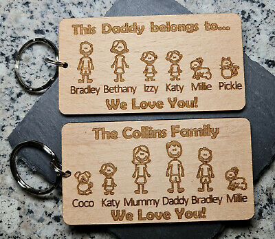 £6.99 • Buy Personalised Fathers Day Gift Keyring Family Portrait Daddy Dad Gifts For Him