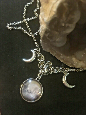 Triple Moon Necklace Goddess Crescent Pagan Magic Witch Gift Pendant Silver Goth • 5.99£